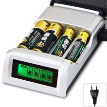 Registered Post C905W 4 Slots LCD Smart Intelligent Battery Charger for AA AAA NiCd NiMh Batteries EU and US Adapter for choose(China (Mainland))