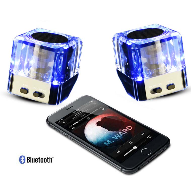 Twins Bluetooth Wireless Speaker, Support 2.0 Left and Right TWS Stereo Surround ,Acrylic Material with Built in Microphone<br><br>Aliexpress
