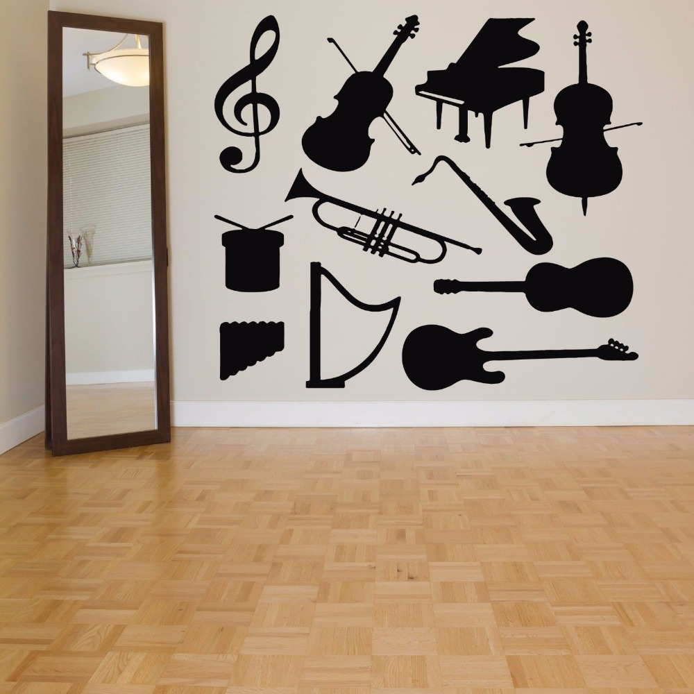 Music vinyl wall decal music instrument violin piano for House music vinyl
