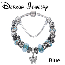 HOT!!! DIY Blue/White/Pink/Green/Silver/Purple Beautiful Bracelets Bangles Charm fit pandora Bracelets For Women Pulsera(China (Mainland))