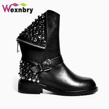 2016 de Alta calidad de cuero genuino botas de tacones cuadrados remaches otoño invierno botines sexy botas de piel de nieve zapatos de mujer(China (Mainland))
