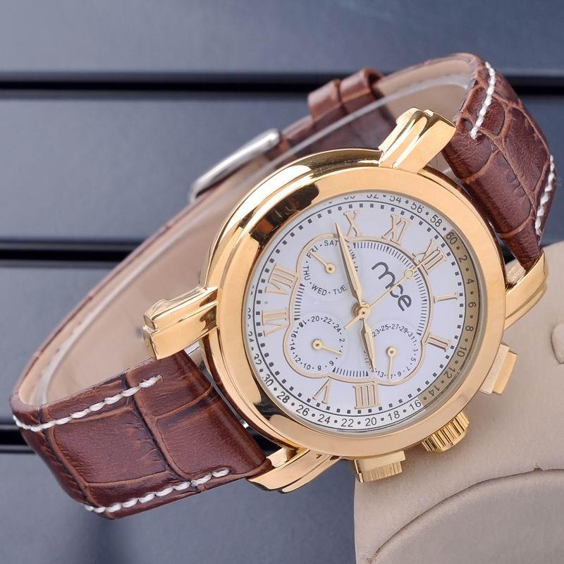 MCE Роскошные часы Мужчины 6 Руки Дата день Золотой Дело коричневый Кожаный Ремешок Мужчины Механические Часы для мужчин Relógio automatico masculino