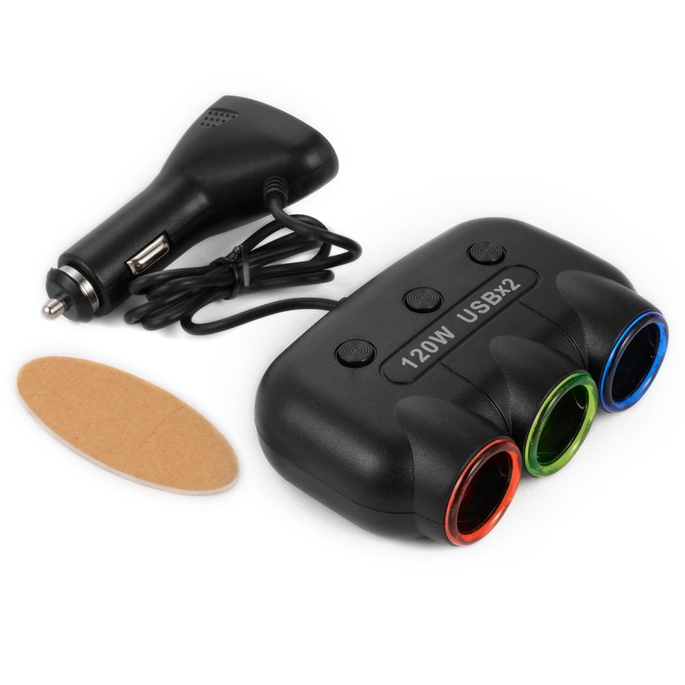 3 Way LED Car Cigarette Lighter Sp-litter Outlet Socket
