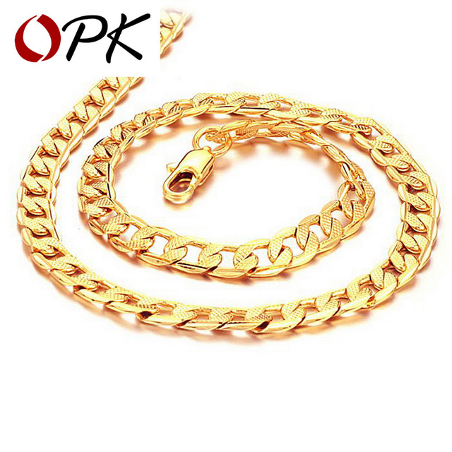 OPK JEWELLERY 18K Gold plated Bracelet  Manual twist shape Link chain steel Gift For cool men FREE SHIPPING 441