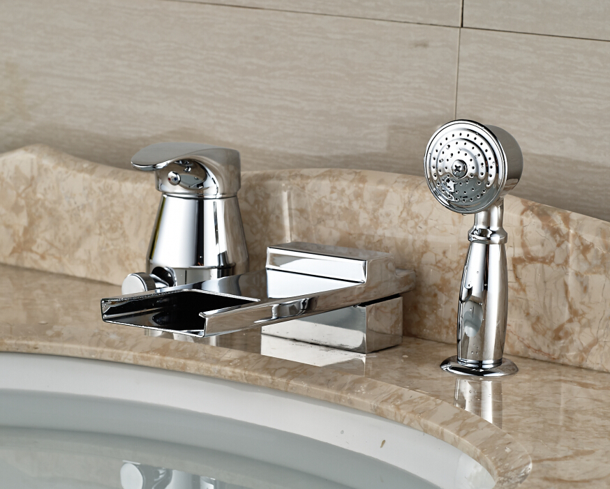 Luxury 3PCS Chrome Bathroom Basin Deck Mounted Sink Faucet  Waterfall Mixer tap With Hand Shower