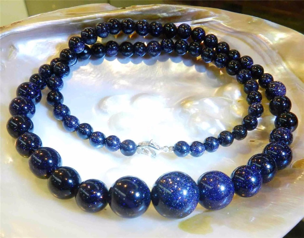 6-14mm Gold blue sand stone jade round beads necklace 18 inch fashion necklaces for women jewelry making(China (Mainland))