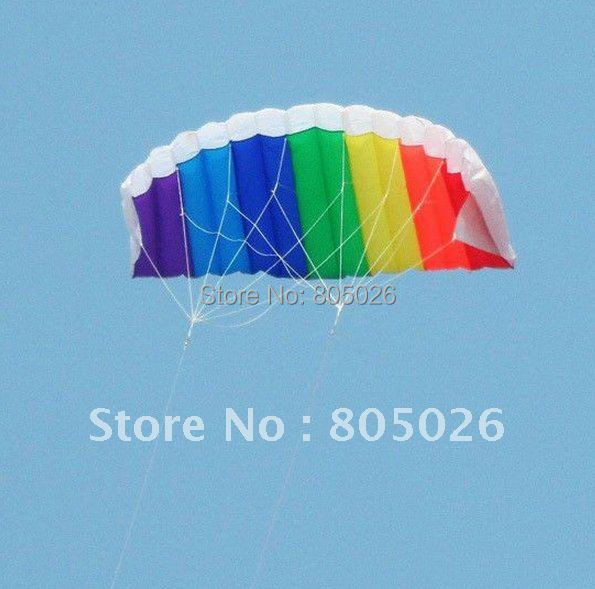 free shipping high quality dual line1.4m parafoil kite with control bar line power braid sailing kitesurf rainbow sports beach(China (Mainland))