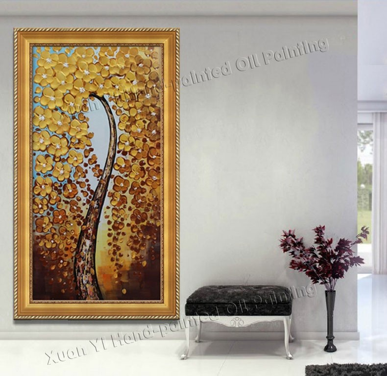 Buy Handpainted Canvas Wall Art Abstract Painting Modern Flowers Money Tree Palette Knife Oil Painting Home Decoration (No Frame) cheap