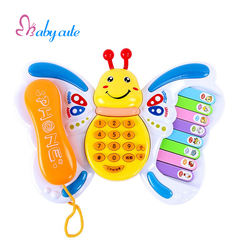 Baby Toys Electrical Musical Piano Educational Keyboard Butterfly Toy Phone Number Animal Sound Early Learning Jouet For Baby(China (Mainland))
