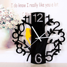 Free delivery mute fashion creative artistic wall clock personality sitting room Numbers round the clock woodpecker quartz clock(China (Mainland))