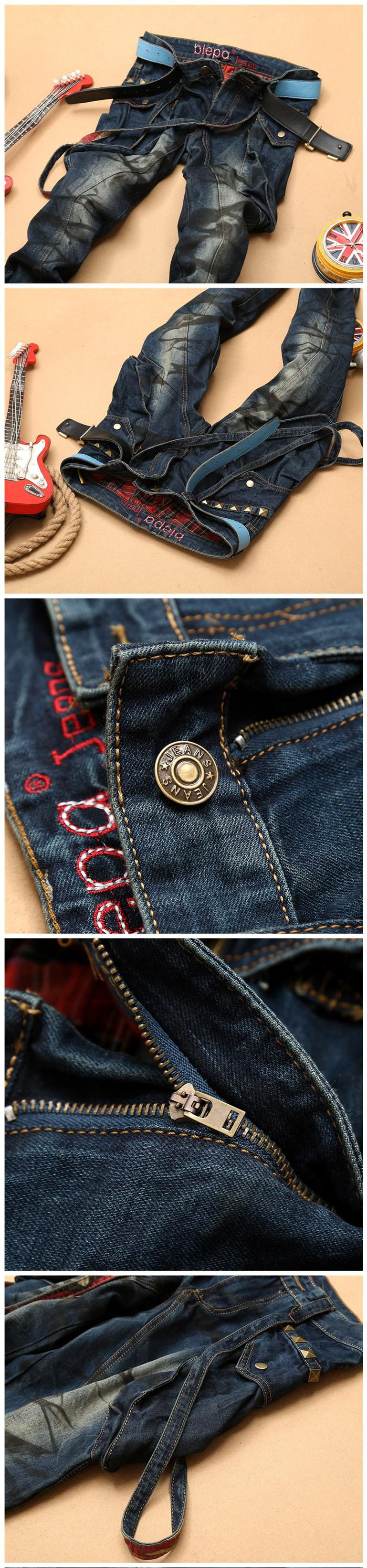 2016 New Fashion Mens Straight Cotton Denim Biker Jeans With Strap And Rivet Hiphop Style Regular Fit Famous Brand Clothing Hot
