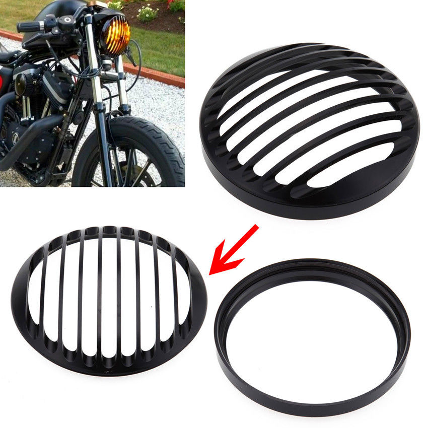 "5 3/4"" Black Round CNC Aluminum Motorcycle Headlight Grill Cover For 2004-2014 Harley Sportster XL 883 1200 Motocicleta lights(China (Mainland))"