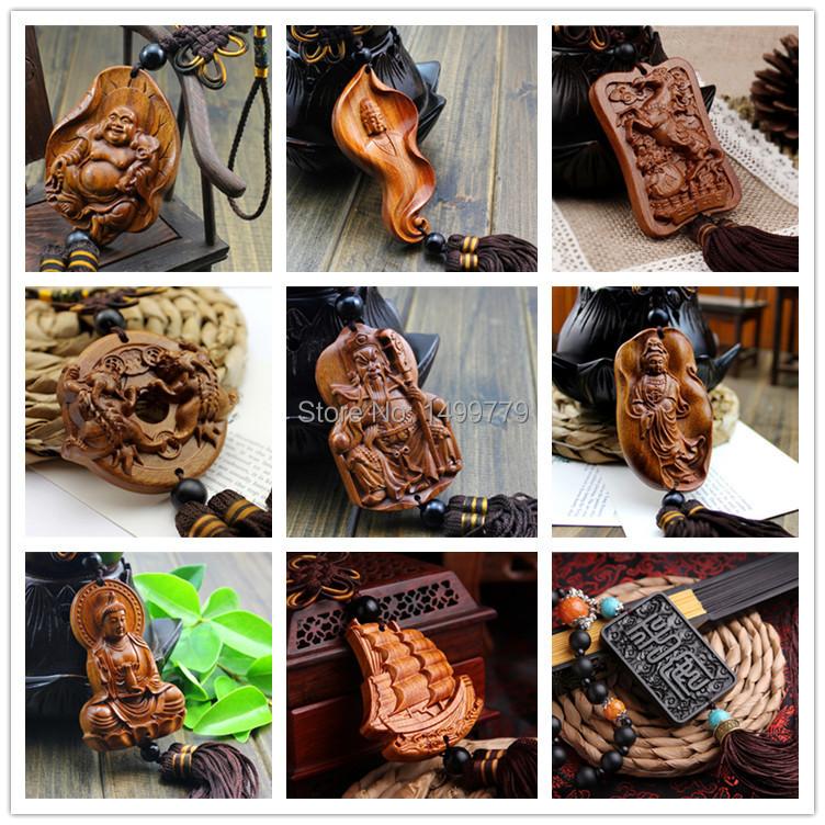 Free Shipping Handmade Wood Carving Car Decoration Chinese Souvenir Car Hang Adorn Accessory Buddha Beads Sculpture Amulet WZ6(China (Mainland))