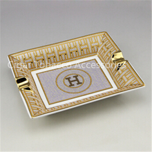 High-end Golden Grain Quality Ceramic Cigar Ashtray Holder 2 Cigars Rest with Nice Gift Box(China (Mainland))