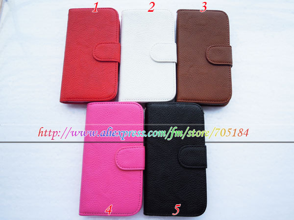 TPU inner shell case Flip book wallet credit card stand holder PU leather pouch cover case For Samsung Galaxy S4 SIV I9500 25pcs