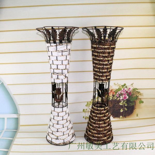 Artificial flowers dried flowers rattan floor vase large for Artificial flower vase decoration ideas