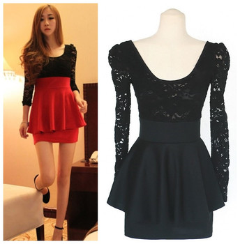 New fashion Spring Autumn Lace red Black Long sleeve Sexy women casual vestidos femininos dress party dresses 2015