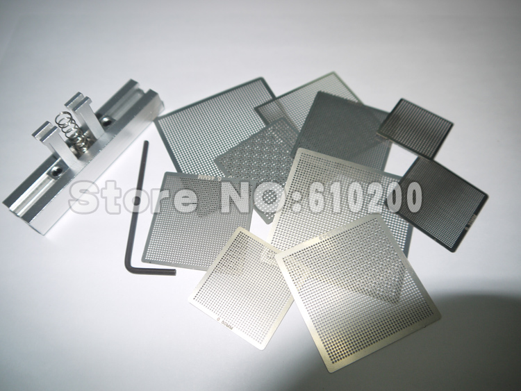 Freeshipping 10 pcs /set Bga Reballing Universal Stencil Tample Kit with free Universal Reball Station(China (Mainland))