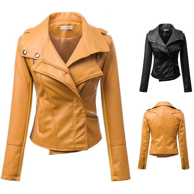 Women Leather Jacket With Bulk Brown PU Motorcycle Biker Coat 2015 New Fashion Hot Yellow Coat Free Shipping(China (Mainland))