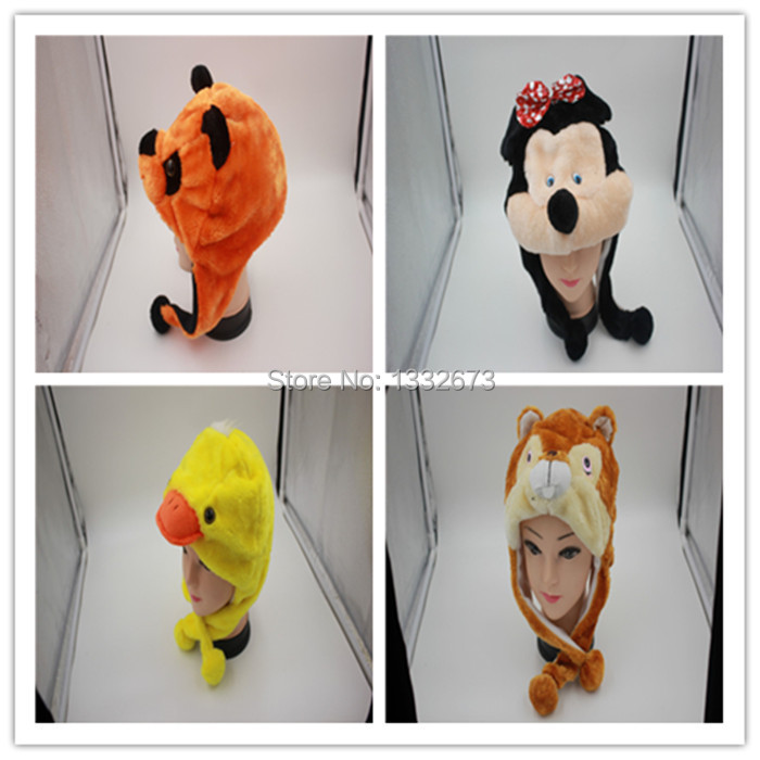 The new custom cartoon fox plush animal animal modelling hat manufacturer children plush animal hats(China (Mainland))