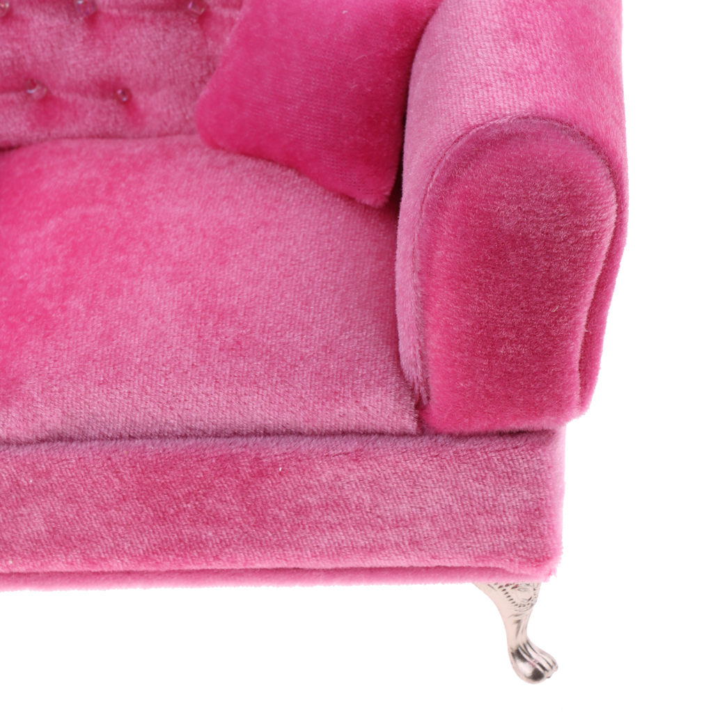 1/6 Scale Pink Double Couch Long Sofa Model for Doll Pretend Play Funiture Toy