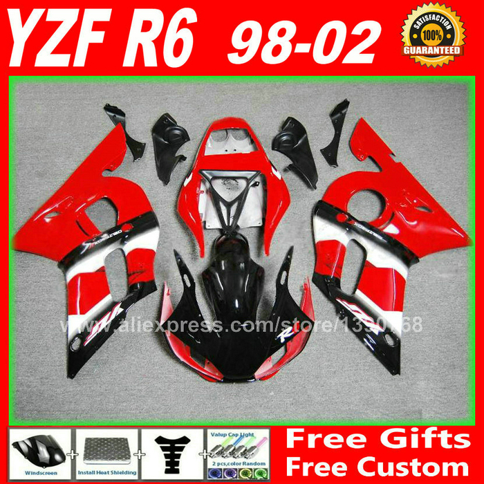 Red fairing fit for YAMAHA YZF R6 98 99 00 01 02 yzf-r6 bodywork 1998 1999 2000 2001 2002 yzfr6 fairings kits free custom(China (Mainland))