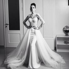 Excellent white mermaid wedding dresses 2016 long sleeves bridal gown lace appliques vestidos de noiva with detachable train()