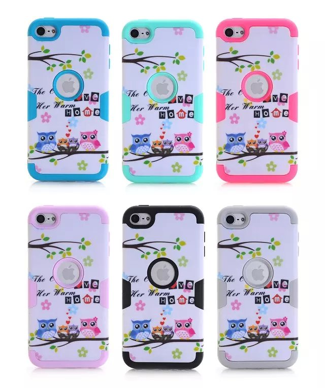 For iPod Touch 6 6th Gen Case Owl Slim LOVE HOME Owl 3 in 1 Shield Hybrid Series Hard Soft Silicone Inner Case+Screen Protector(China (Mainland))