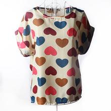 Heart Women Blouses Shirt Chiffon Plus Size Feminina Top Tee Short Shirt Women Clothing Blusa Camisa Summer Tops Shirt Floral(China (Mainland))