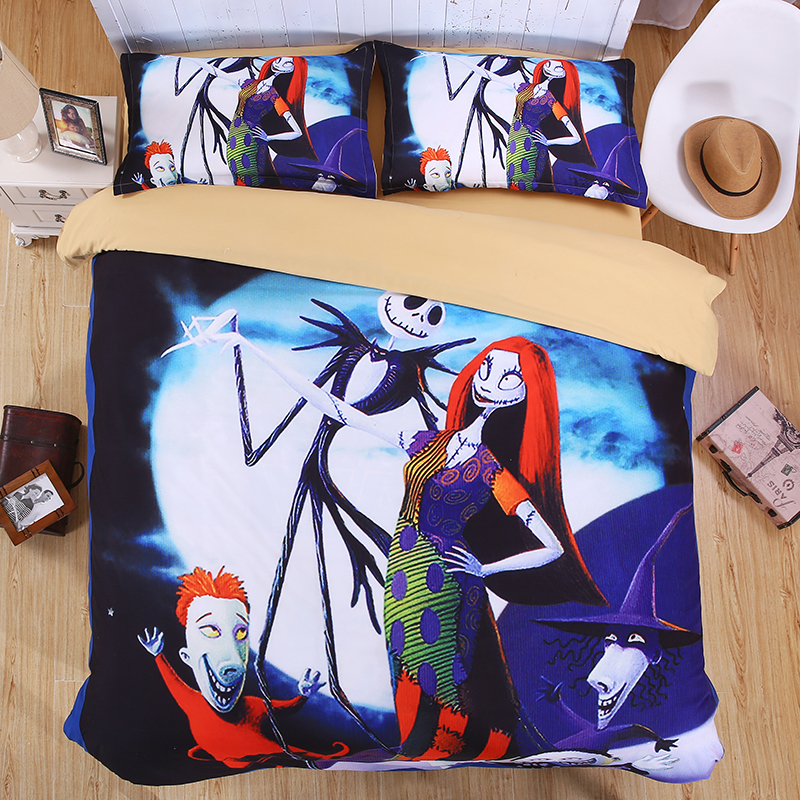 The Nightmare Before Christmas Eve 3D Bedding Set Print Duvet cover set Twin queen king lifelike bed sheet linen#2(China (Mainland))