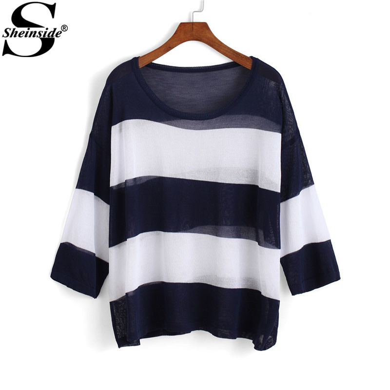 Sheinside Women Autumn Retro Tops Navy and White Striped Casual Brand Pullovers Round Neck Long Sleeve Loose Knit Sweater(China (Mainland))
