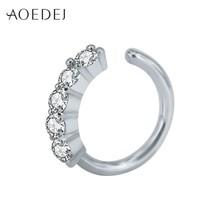 AOEDEJ קריסטל האף טבעת חישוק זהב צבע 8mm האף פירסינג תכשיטי Tpyes Helix סחוס עגילי פירסינג Nez Tragus פירסינג(China)