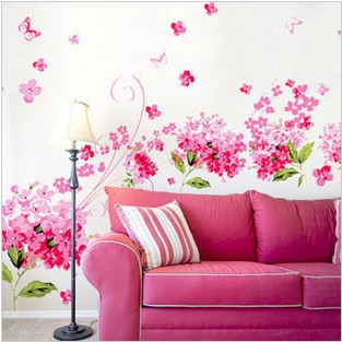 Three generations of romantic hydrangea wall stickers tv wall sofa