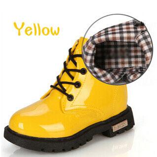 Новый 2015 осенние детей искусственная кожа мартин сапоги мода мальчики девочки свободного покроя обувь для детей резиновые сапоги черно-красно-желтый синий 4A