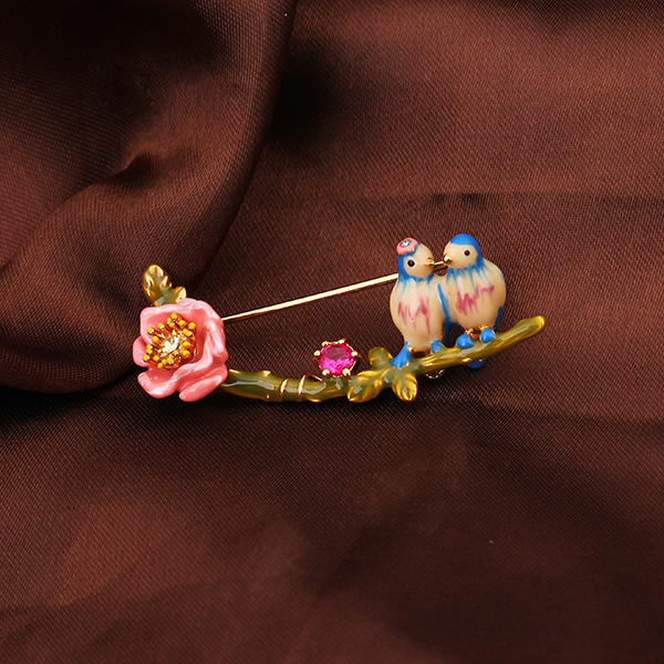 2016 NEW Design brand Les NereidesCloisonne enamel blue tit bird brooch pink roses brooches for women jewelry wholesale(China (Mainland))