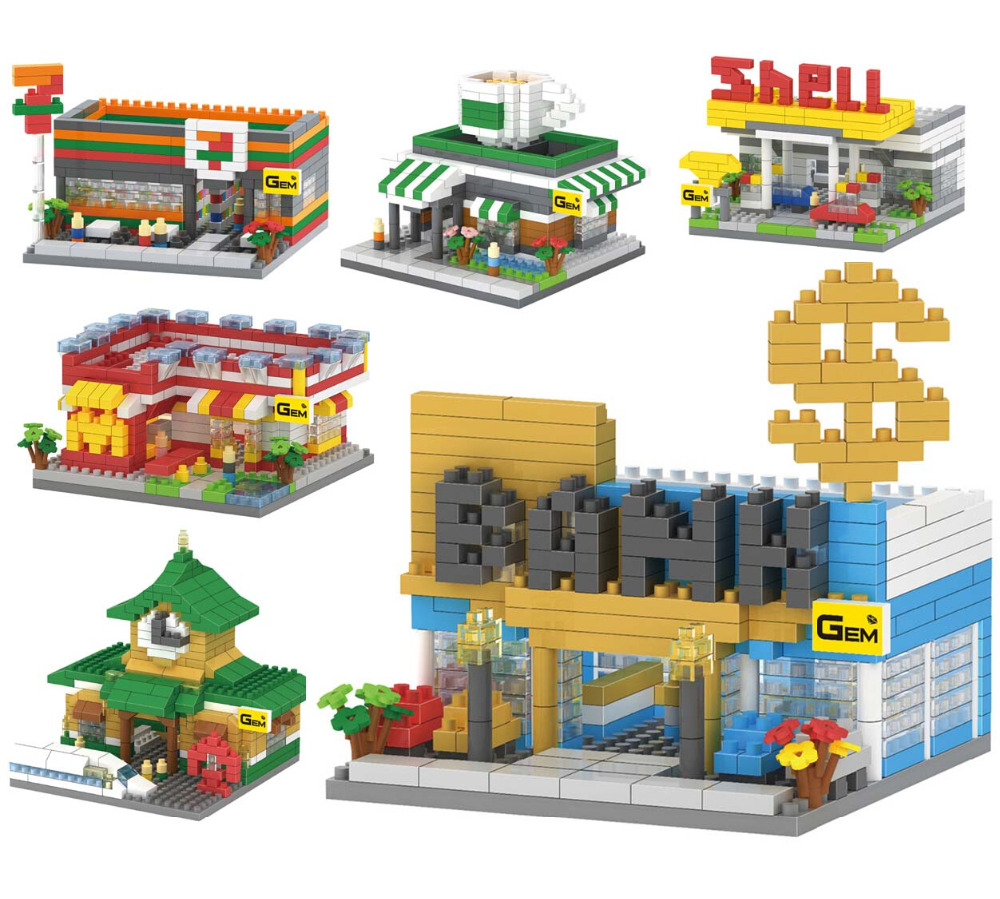 2016 NEW GEM Mcdonald's bank train station structure 3D models Diamonds building Blocks Nano toy bricks plastic minifigures toys(China (Mainland))