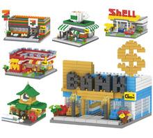 2016 NEW GEM Mcdonald's bank train station structure 3D models Diamonds building Blocks Nano toy bricks plastic minifigures toys