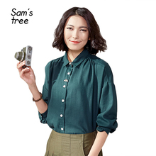Spring women's shirt loose vintage turn-down collar long-sleeve embroidery shirt female medium-long