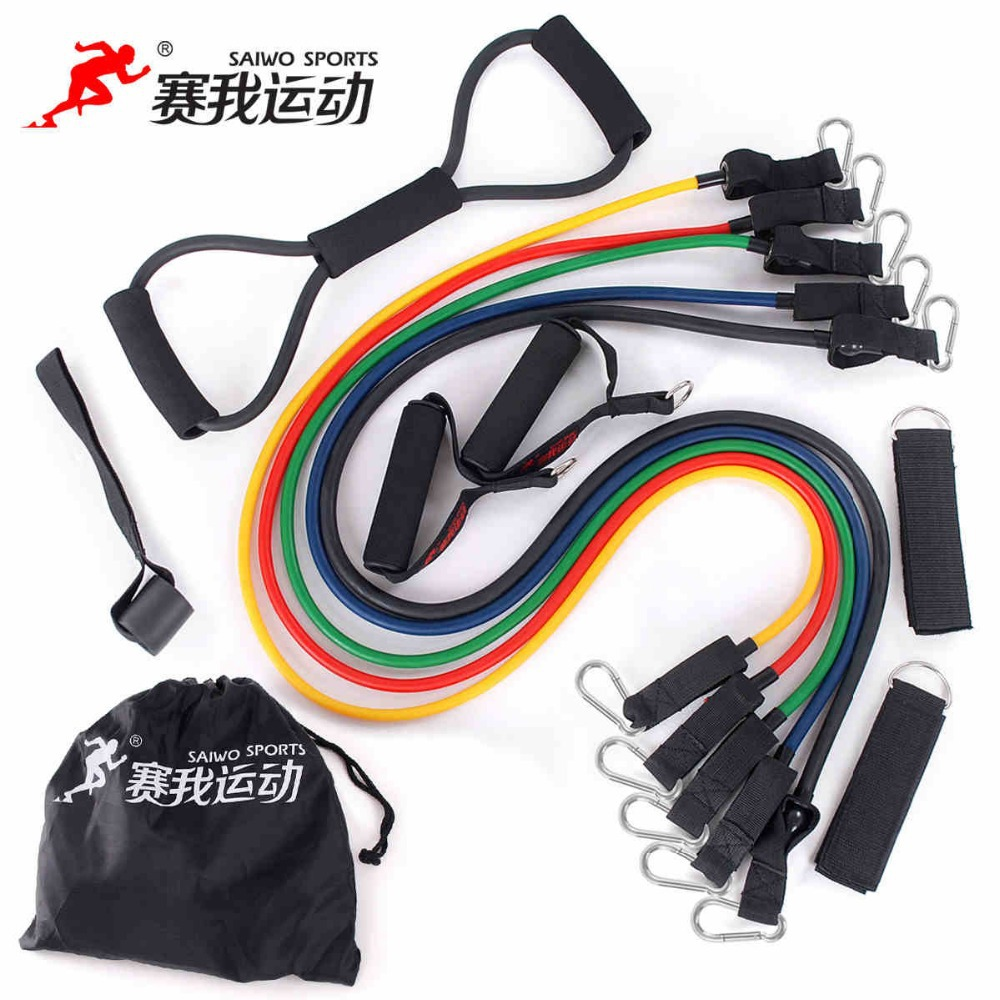 Fitness pull rope elastic rope strength training set multifunctional tensile equipment latex tube arm resistance(China (Mainland))