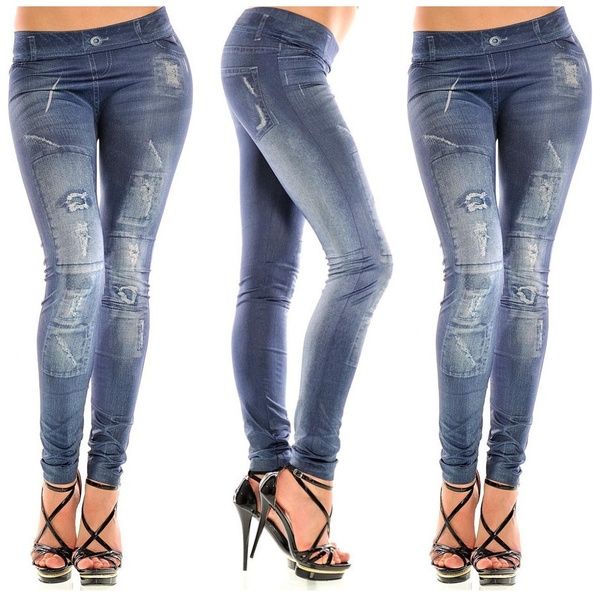 Hot Fashion New Stylish Faux Jean Denim Jeggings Women Leggings Pants for Girls Lady
