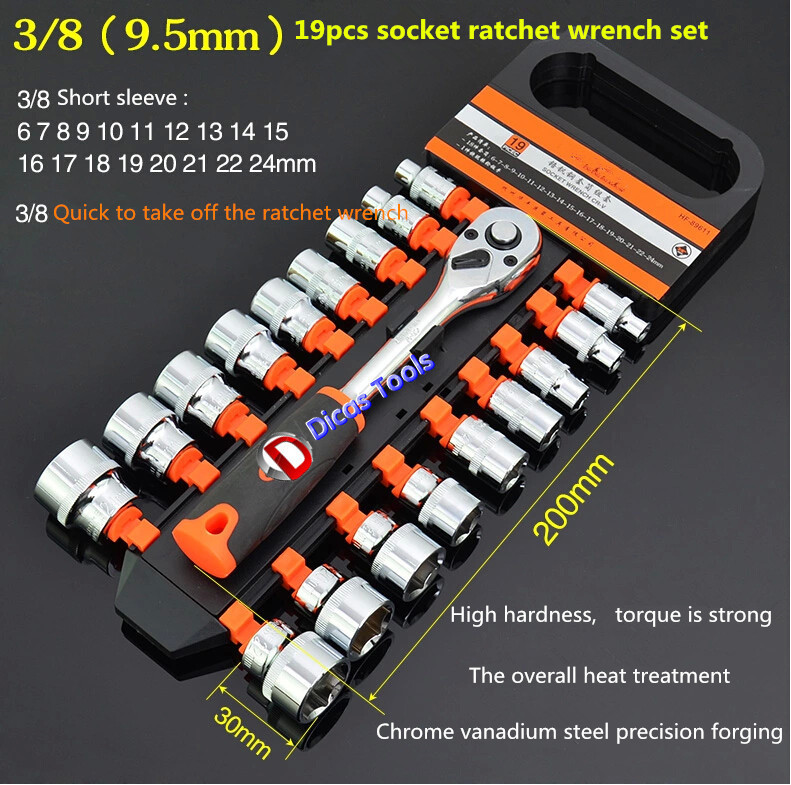 hot selling free shipping 3/8 (9.5mm)19pcs socket ratchet  wrench set<br><br>Aliexpress