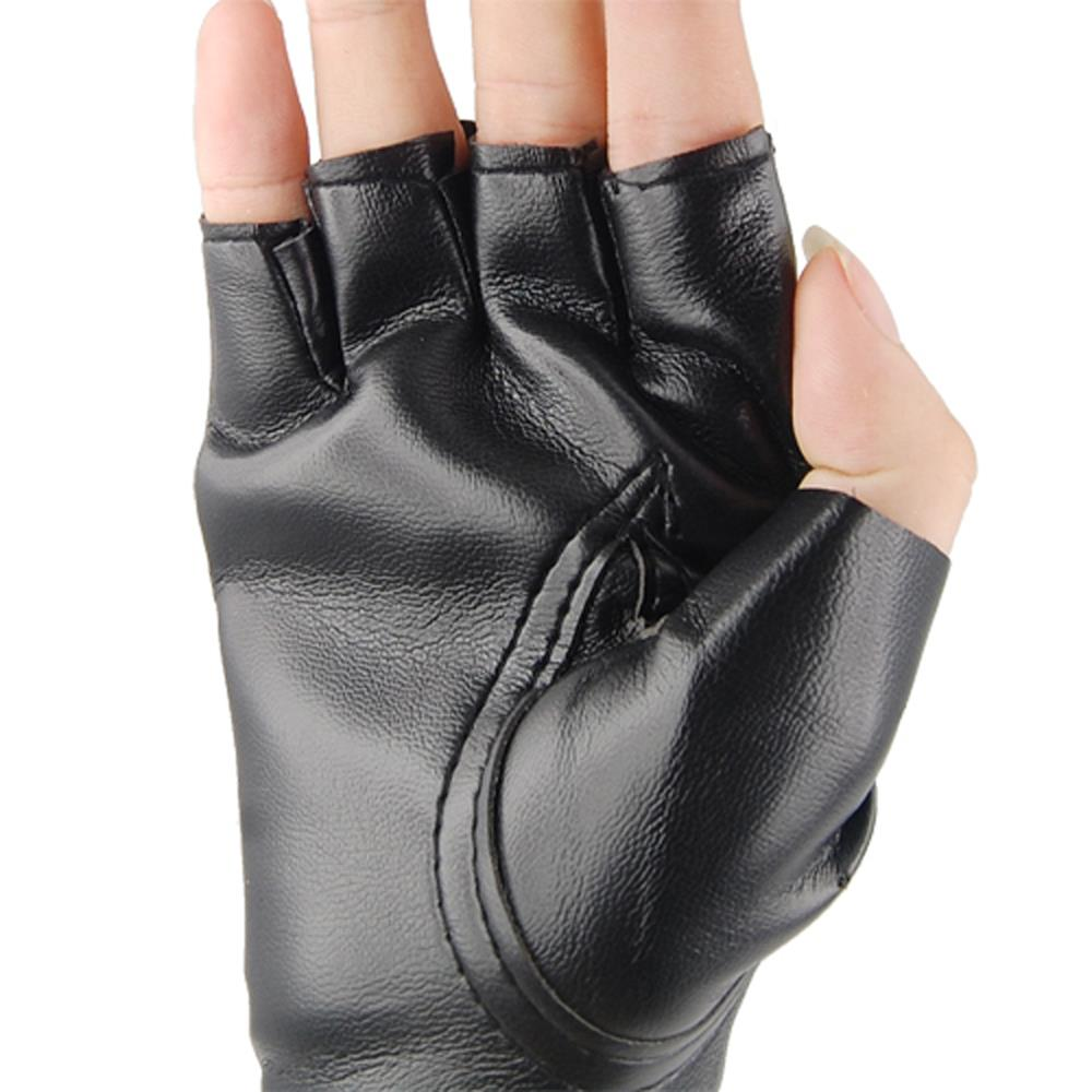 Long black leather gloves prices - Hot Unisex Cool Black Punk Rock Studded Leather Look Fingerless Gloves Fancy Dress China