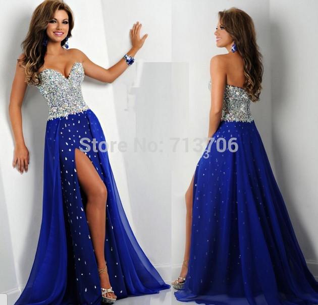 Online Get Cheap Royal Blue Prom Dress Slit Sweetheart -Aliexpress ...