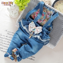 2015 hot sale spring and autumn Baby girls bow denim bib pants ,cotton denim infant jumpsuit overalls jeans for roupas de bebe(China (Mainland))