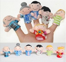 100% New Cute Family Hand Finger Puppets Toys For Sale Unique 6pcs Puppets Gifts For Children kids With Low Price(China (Mainland))