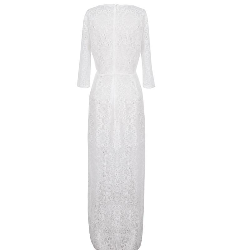 Высокое качество 2015 женщин кружевном платье половина рукава Bodycon бинты макси длинные платья знаменитости ну вечеринку Большой размер Vestidos феста