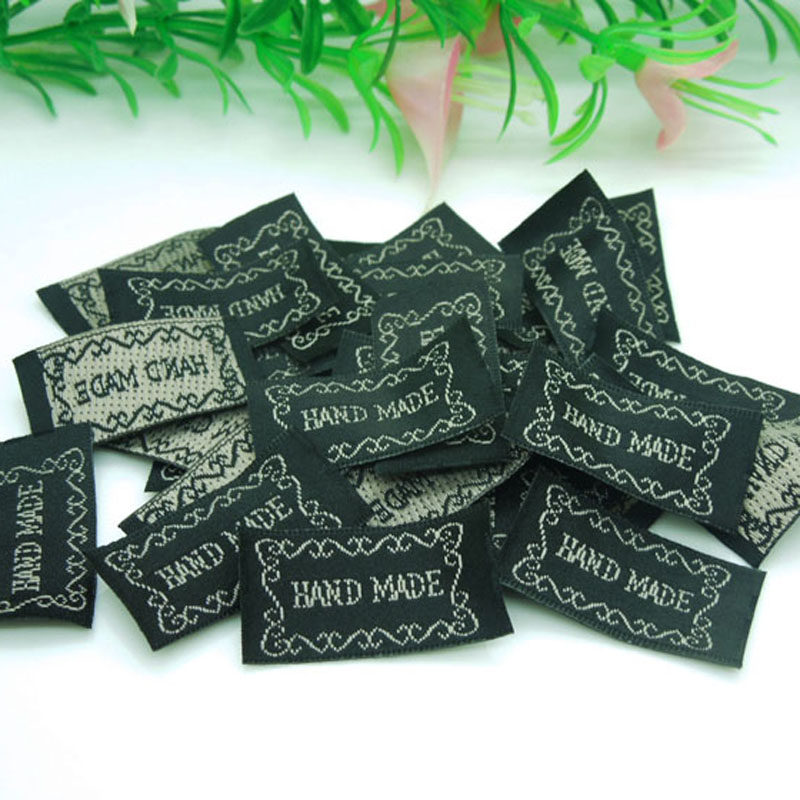 New Arrivals 300pcs Black ribbon label tag with embroidered Gray Color Handmade sign Garment Tag Accessories 33*15mm(China (Mainland))