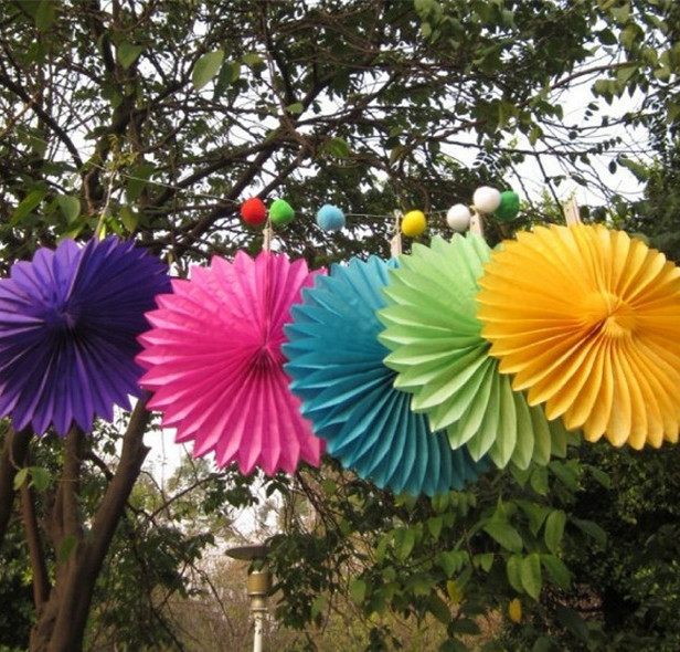 5pcs/lot 12inch(30cm) Wedding birthday baby shower Party Decoration Hanging Hollow out Tissue Paper Fan flowers(China (Mainland))
