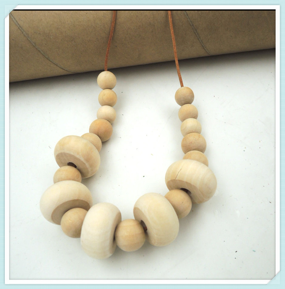 Graduated boho Wood Bead Cluster Necklace Modern Tribal Chic beaded natural leather cord NW045<br><br>Aliexpress