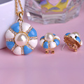 Luxury Pearl Jewelry Sets Lobster Clasp Gold Enamel Necklace French Hooks Earrings Blue Flower Statement Necklaces